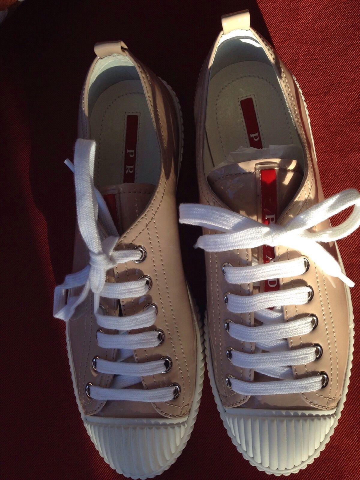 PRADA Sport Patent Leather Nude Cipria Lace Up Sneakers EU 36