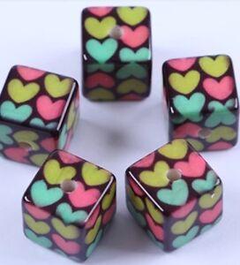 assorted hearts cube acrylic beads 7 mm //40pcs white black