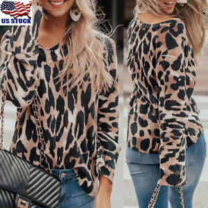 Women-Leopard-Print-Long-Sleeve-V-neck-Casual-Loose-T-Shirt-Top-Blouse-Pullover