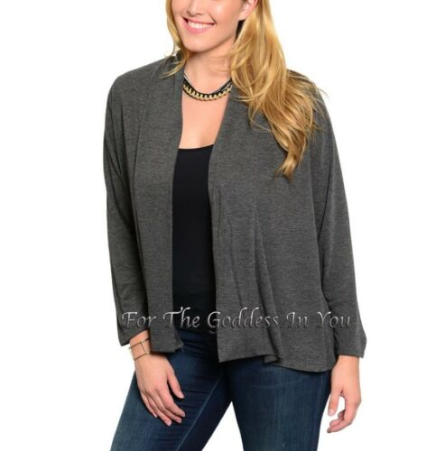 J47 CHARCOAL GRAY OPEN FRONT JACKET LONG SLEEVE CARDIGAN WOMENS PLUS SZ 2X 20//22
