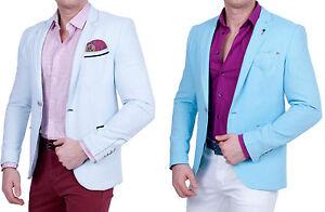 Herren-Leinen-Look-Sakko-Einknopf-Slim-Fit-Blazer-Casual-Jackett-Anzug-Polo