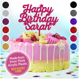 Image Is Loading PERSONALISED Birthday Cake Toppers Happy ANY NAME
