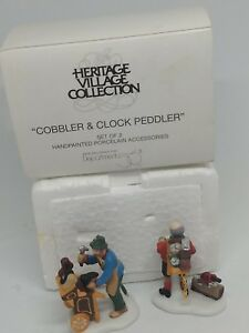 Dept-56-Heritage-Village-Cobbler-amp-Clock-Peddler-2-Pc-Set-W-Original-Box