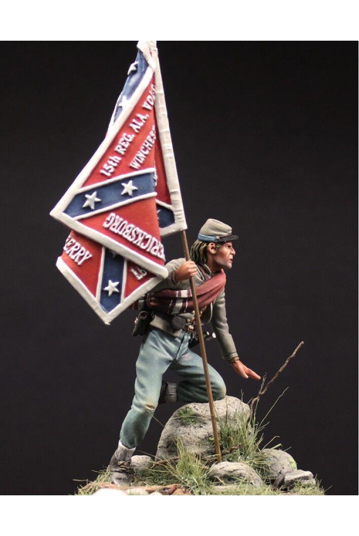 Konfederations Standard Bearer vid slaget vid Gettysburg Tin Målad Toy SoldierKonst