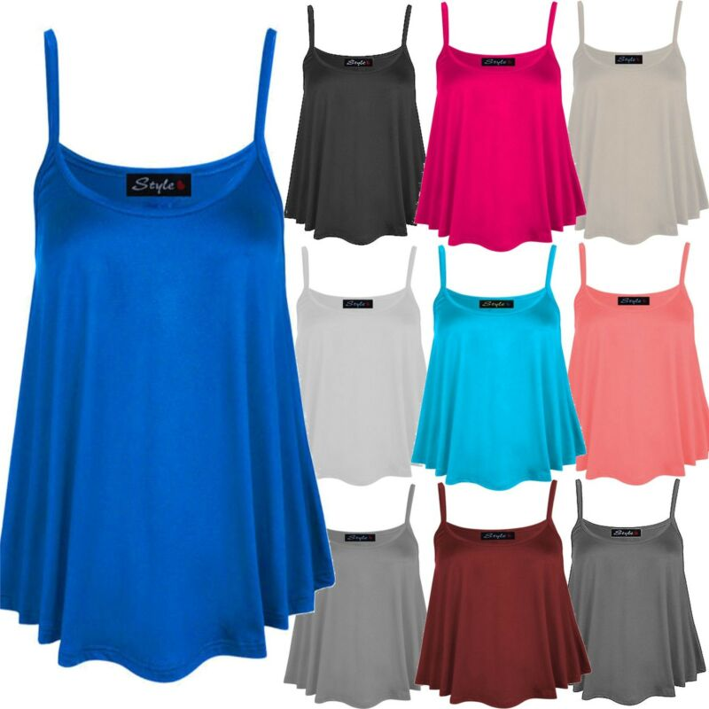 Womens Camisole Flare Swing Vest Tops Womens Mini Tunic Summer Strap Vests 8-22