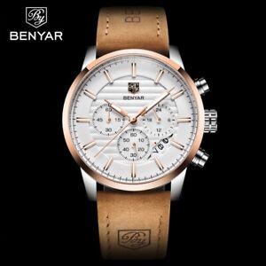 BENYAR-Herren-Armbanduhr-Luxus-Lederband-Datum-Kalender-Chronograph-Stoppuhr-Uhr