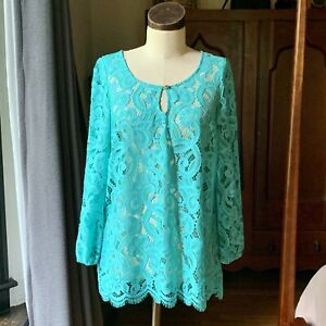 LILLY PULITZER NWOT Teal Blue Green Lace Top MEDIUM Boho Cover