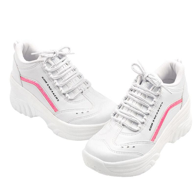 Women High Heel Sneakers Cheerleaders Shoes Wedge Platforms Cheer Leader