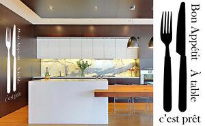 Bon Appetit Deco Mur Cuisine Couvert Couteau Fourchette Adhesif