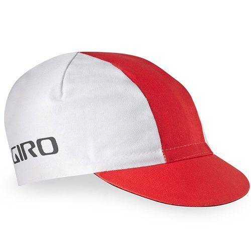 White x Red GIRO Classic Cotton Cap Elastic Rear Panel Bike Cap