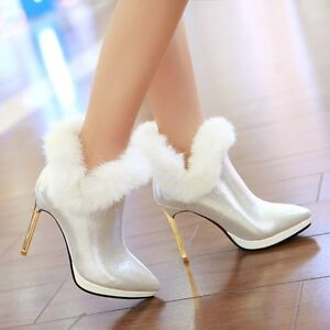 Women-High-Heels-Shoes-Fur-Trim-Warm-Party-Ankle-Boots-Pointy-Toe-Stilettos-size