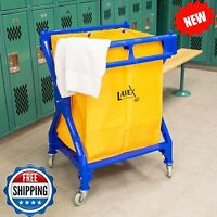 Lodging 10 Bushel Commercial Rolling Laundry Trash Storage Hamper Cart Vinyl Bag