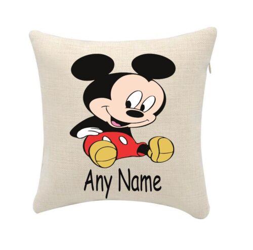 20cmx20cm Housse uniquement Mickey Mouse Coussin personnaliser Tout Nom