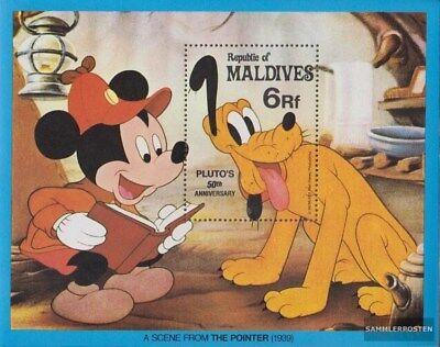 kompl.ausg. Postfrisch 1982 Walt-disney-figur Pluto Harmonische Farben Malediven Block81