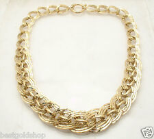 "18"" Bold Graduated Hammered Curb Link Chain Necklace Real 14K Yellow Gold QVC"