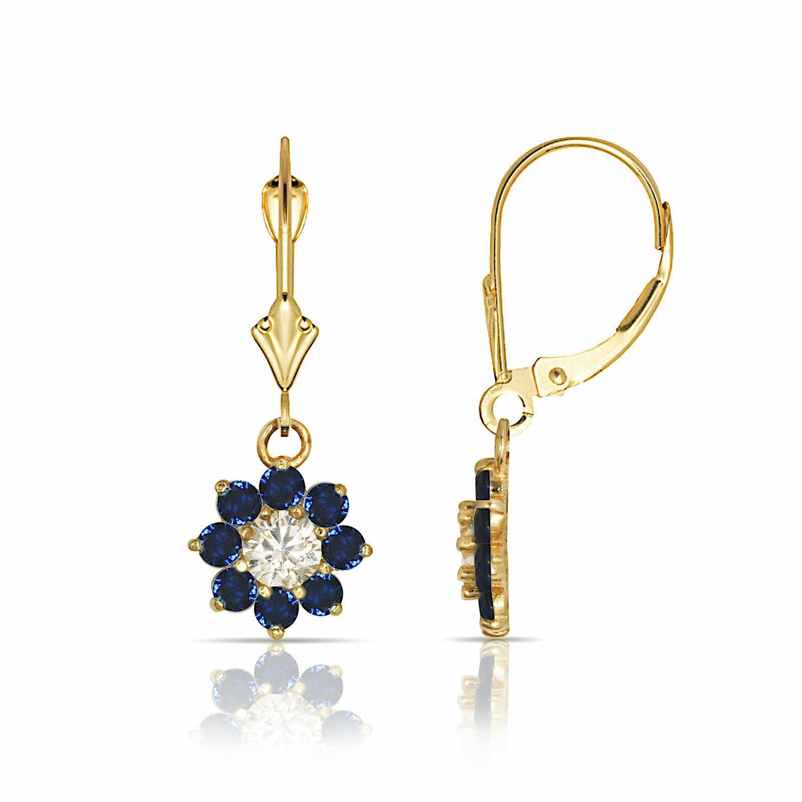 bluee and White Sapphire Flower Cluster Dangle Earrings 14K Yellow or White gold
