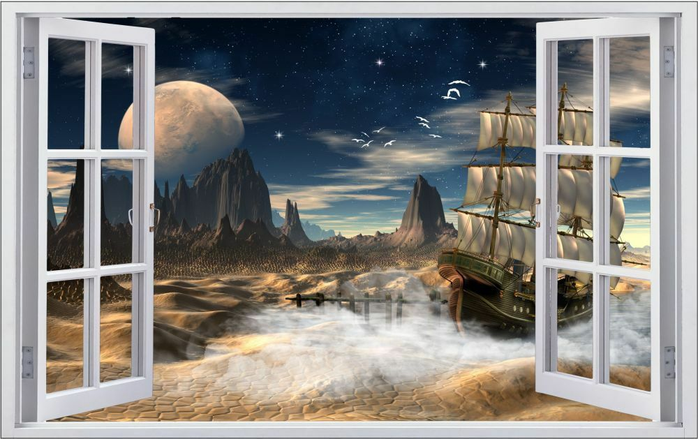 Planet lune f1200 vaisseau fantasy mural sticker autocollant f1200 lune fbb62e