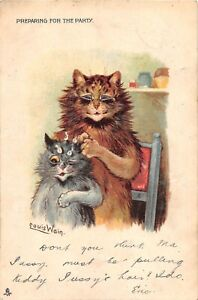 POSTCARD-CATS-LOUIS-WAIN-PREPARING-FOR-THE-PARTY-TUCK