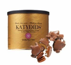 Katydids Candy Chocolate Caramel Pecans Kathryn Beich VTG Katydids 8oz Can Tin