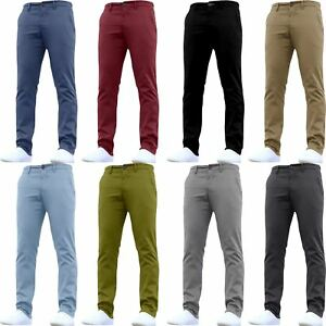 Mens-Designer-Trousers-Chinos-Stretch-Skinny-Slim-Fit-Pants-All-Waist-Sizes-New