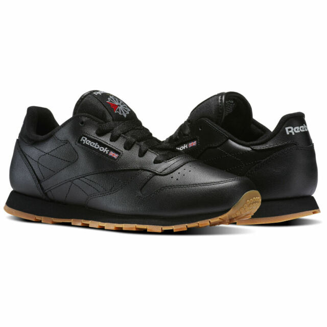 Reebok Classic Leather CL Black Red Gum Fashion Mens Shoes 49798 All Sizes