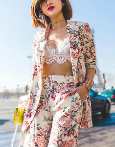 ZARA-FLORAL-PRINTED-LONG-BLAZER-JACKET-TROUSERS-PANTS-SET-XS
