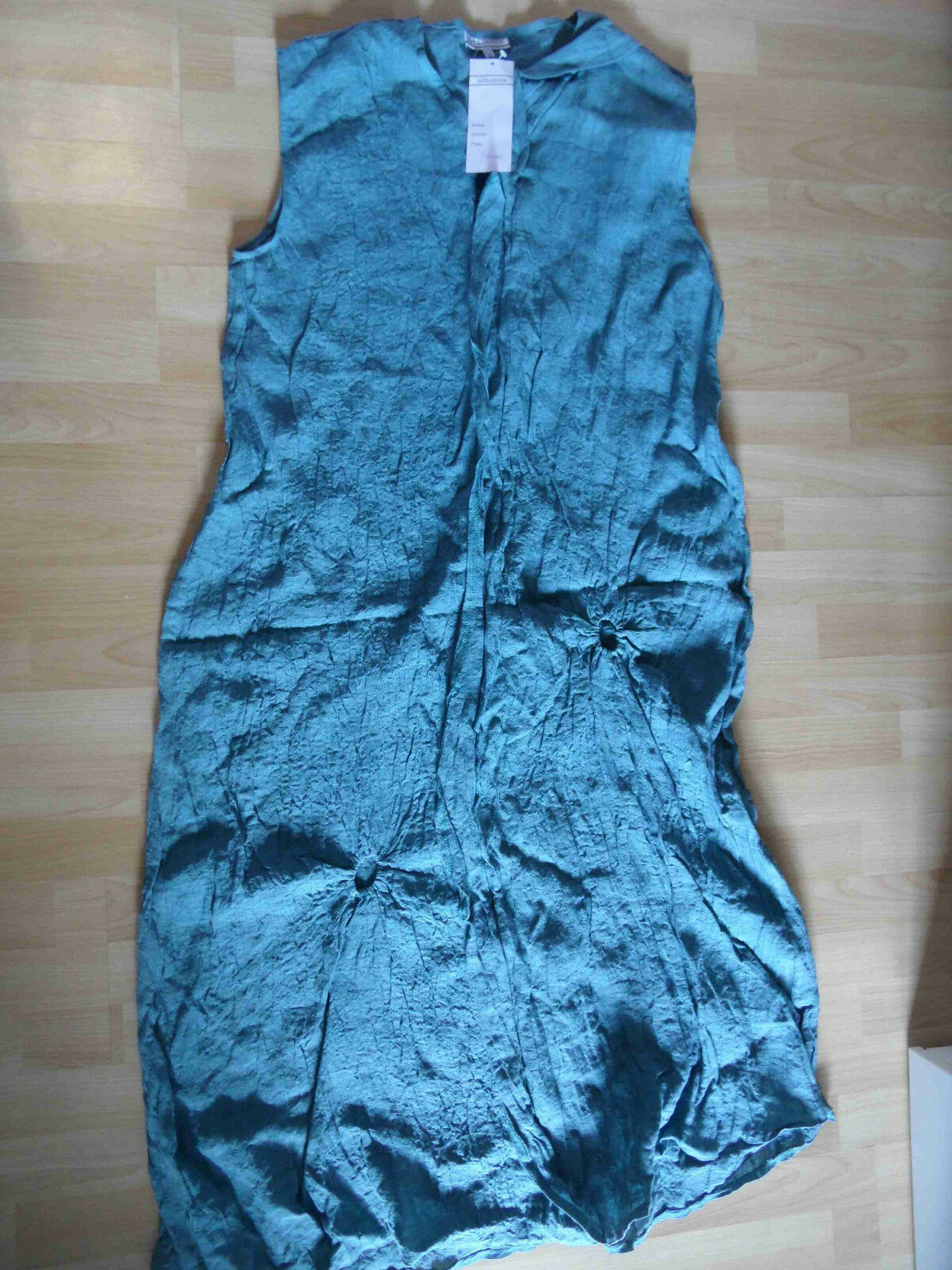 TURBULENCE schönes langes Leinen-Kleid grünblau Gr. 2 NEU HMI815