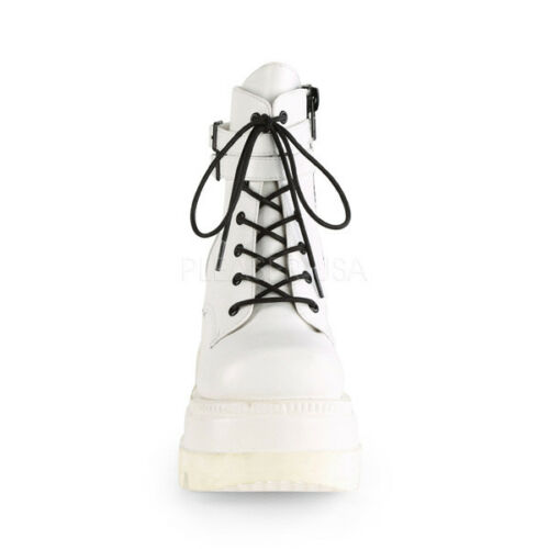 """Demonia White Vegan 4.5/"""" Platform Stacked Wedge Buckle Ankle Club Boots 6-12"""