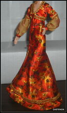 DRESS BARBIE DOLL 007 LIVE AND LET DIE MODEL MUSE SILK MULTI COLORED PRINT GOWN