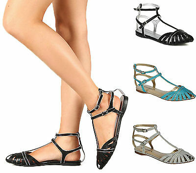 New Women Fashion Closed Toe Cut Out Double Buckle Strap Pointy  Toe Flat Sandal