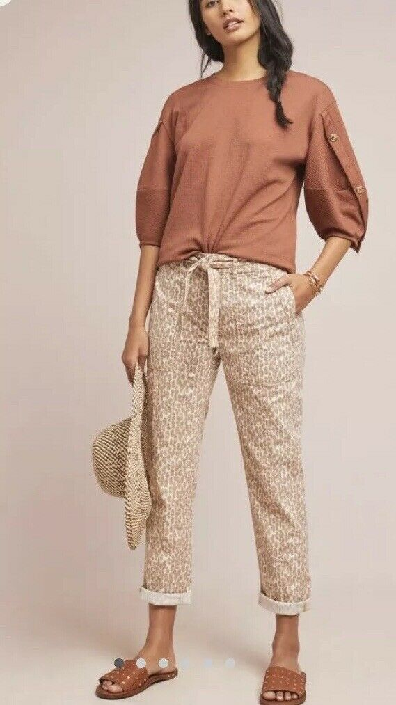 NWT Anthropologie Wanderer Utility braun Animal Print Casual Pants 32 14 Belted