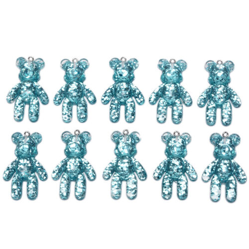 10Pcs//Set Resin Candy Bear Charms Pendants Jewelry Findings DIY Craft Making X0D