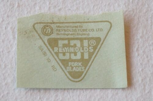 Original Reynolds 531 Bike Cycle Fork Blades Sticker Transfer Decal Unused