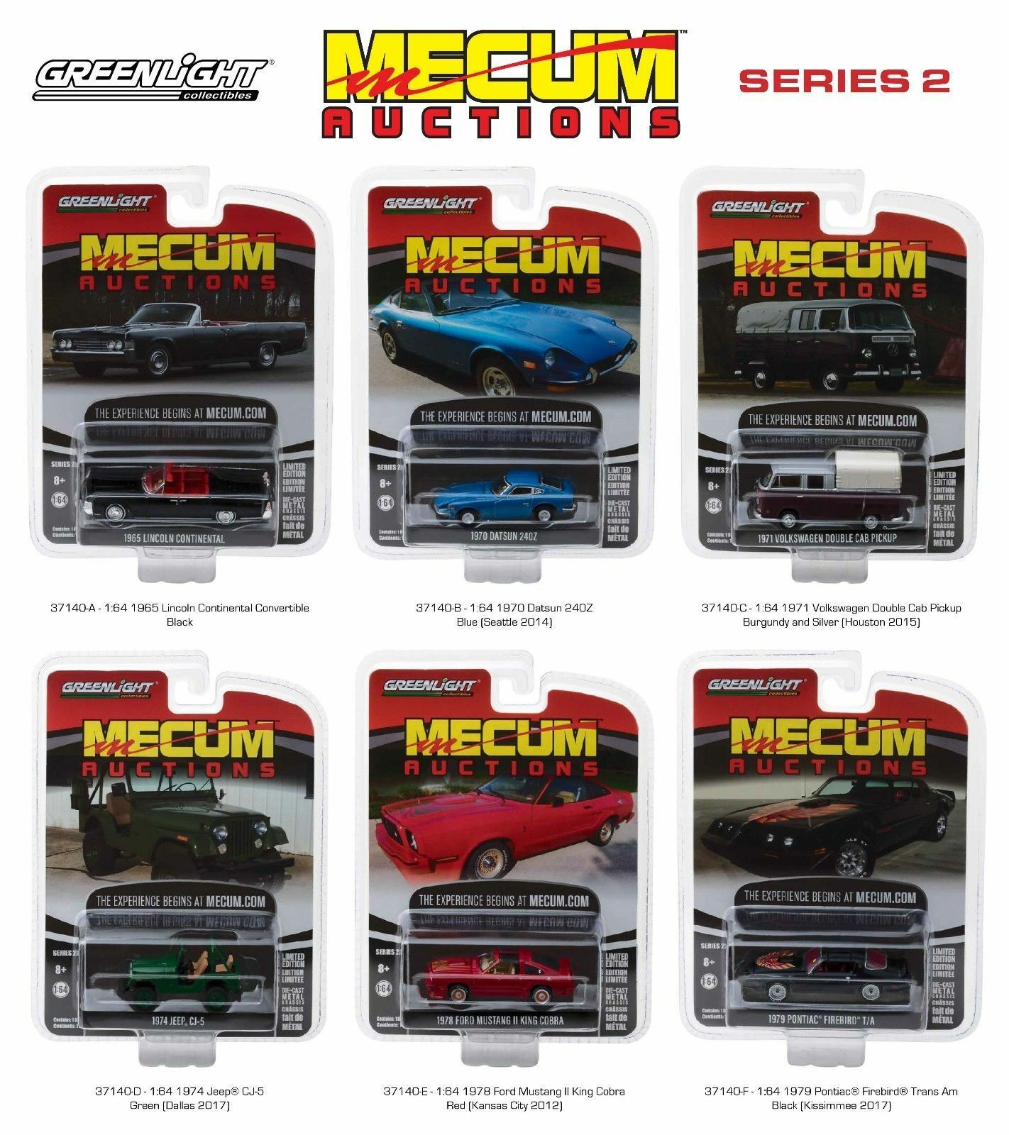 MECUM AUCTIONS COLLECTOR SERIES 2 SET OF 6 CARS 1 1 1 64 DIECAST BY GREENLIGHT 37140 5b200f