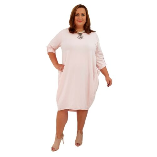 Wolfairy Womens Plus Size Midi Dress Spring Summer Long Sleeve Flared Jersey