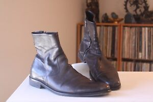 To-Boot-New-York-Adam-Derrick-1996-Charcoal-Black-Zipper-Boots-Men-039-s-Size-10