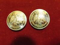 Conchos: Pair Real Coin Silver Mexico Un Peso 1930s To 40's, 72% Silver