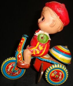 Old Vintage Winding Tin Celluloid Tricycle Toy from Japan 1930