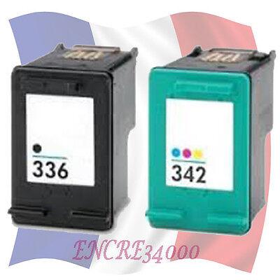 Cartouches d'encre remanufacturées HP 336 XL Noir et HP 342 Couleur Gde capacité
