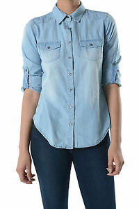 Womens chambray button down shirt with roll up sleeves for How to roll up sleeves on women s dress shirt