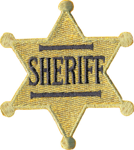39198 Old Fashioned Retro Gold Sheriff/'s Badge Cop Sew Iron On Patch Badge