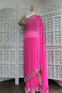 Pink-amp-gold-pre-pleated-sari-saree-37-bust-blouse-SKU15705