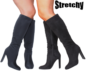 New-Woman-Ladies-Sexy-Black-Vegan-Knee-Calf-Fit-High-Heel-Boots-Stretch-Stretchy
