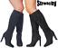 New-Woman-Ladies-Sexy-Black-Vegan-Knee-Calf-Fit-High-Heel-Boots-Stretch-Stretchy thumbnail 1