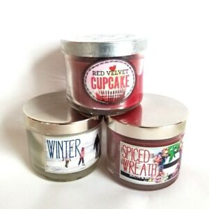 THREE - Pack of Bath and Body Works Assorted Scented Candles 765829719839