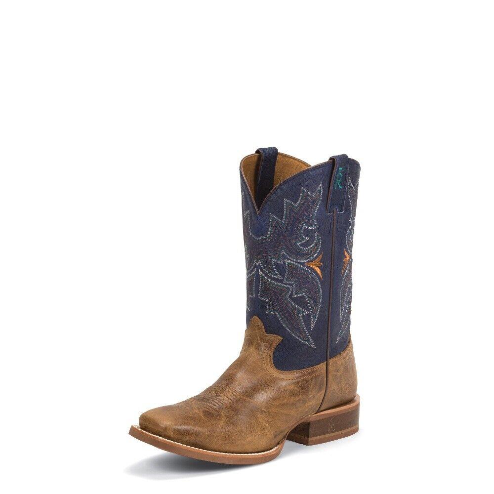 Tony Lama Men's SOCORRO blueE Cowboy Boot Square Toe Rubber Outsole - 3R1128