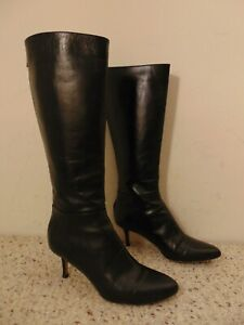 JIMMY-CHOO-black-leather-knee-high-Boots-size-36-Italy
