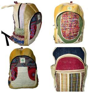 eafb2c8f486 Image is loading 100-Natural-Hemp-Backpack-Rucksack-Luggage-Travel-Nepal-