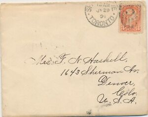 CANADA VICTORIA SMALL QUEEN ISSUE #41 ON 1891 COVER TO USA !! B64