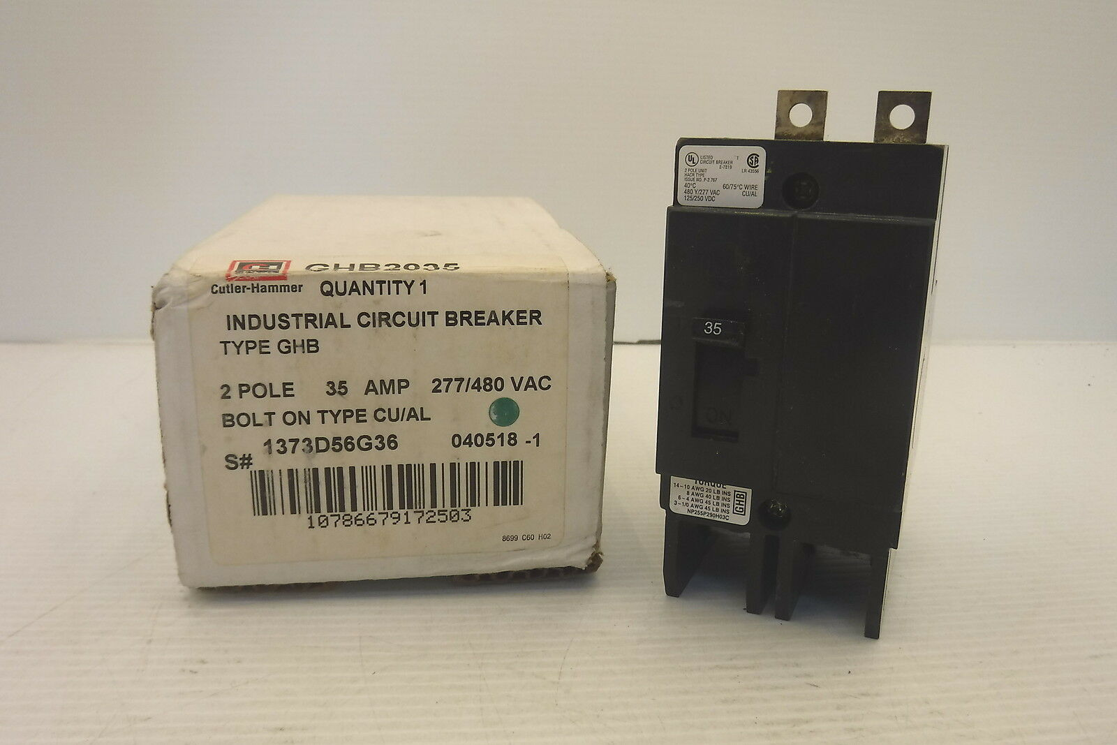 New In Box GHB2035 Eaton CUTLER HAMMER Circuit Breaker 2 Pole 35 Amp 277//480V